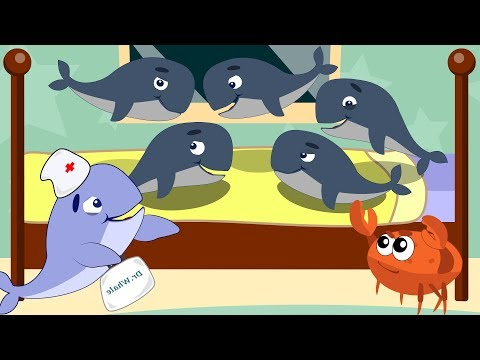 Whales Song. Five Little Whale Jumping on the Bed - Nursery Rhymes