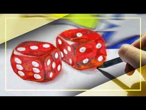 Dibujando DADOS ROJOS en 3D   dibujo 3D