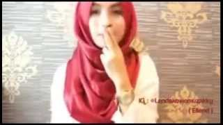 tutorial hijab segi empat satin shawl ala ellend cantik