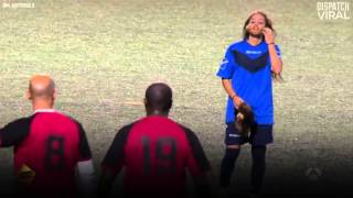 Female Soccer Player Pranks Men's Game