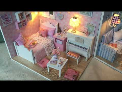 Doll House Furniture Diy Miniature Dust Cover 3D Wooden Miniaturas Toys for Children Diary