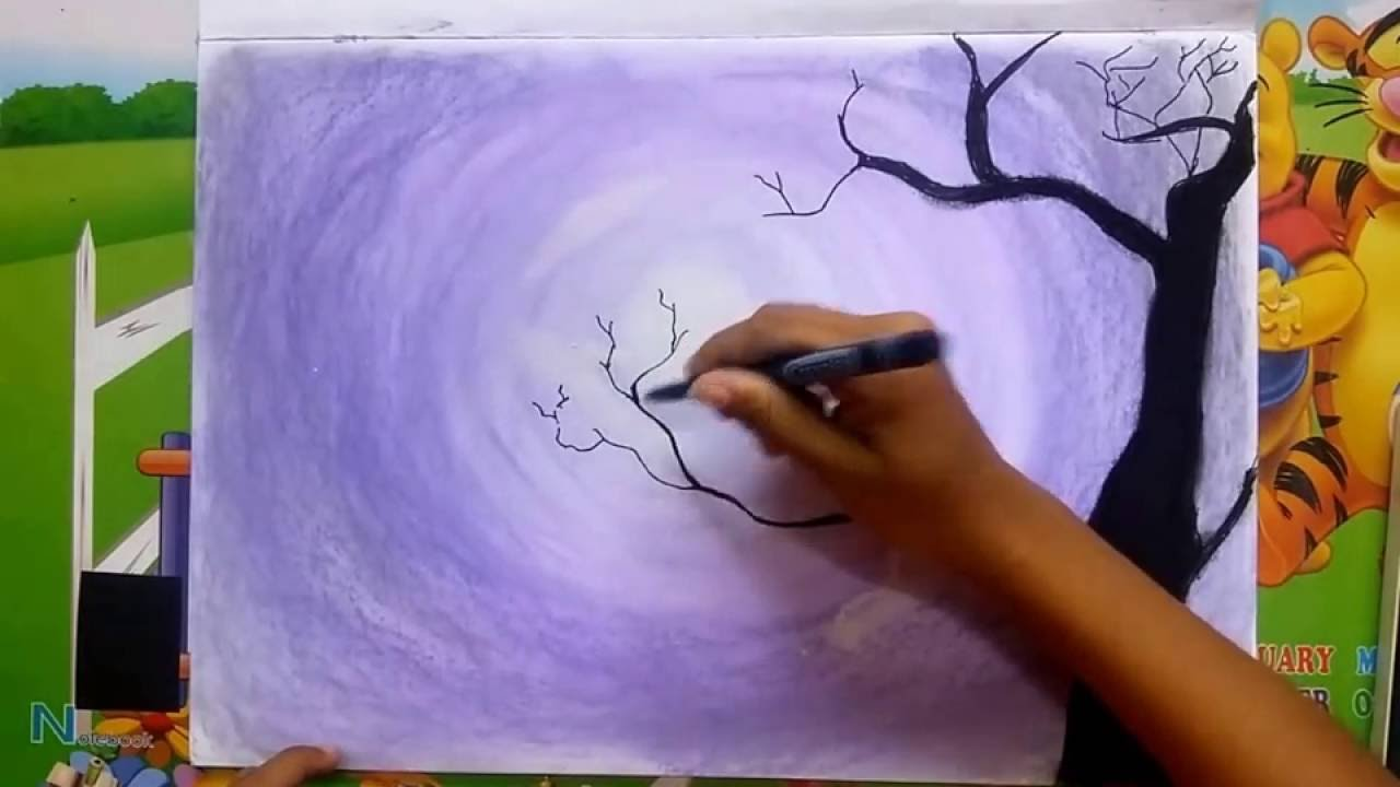 night time easy drawing with soft pastels - YouTube