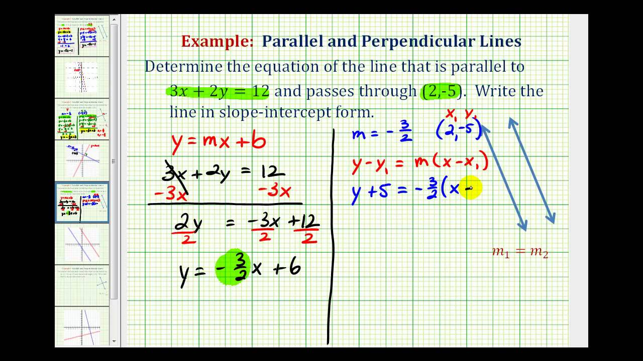 Ex 2: Find The Equation Of A Line Parallel To A Given Line Passing Through  A Given Point