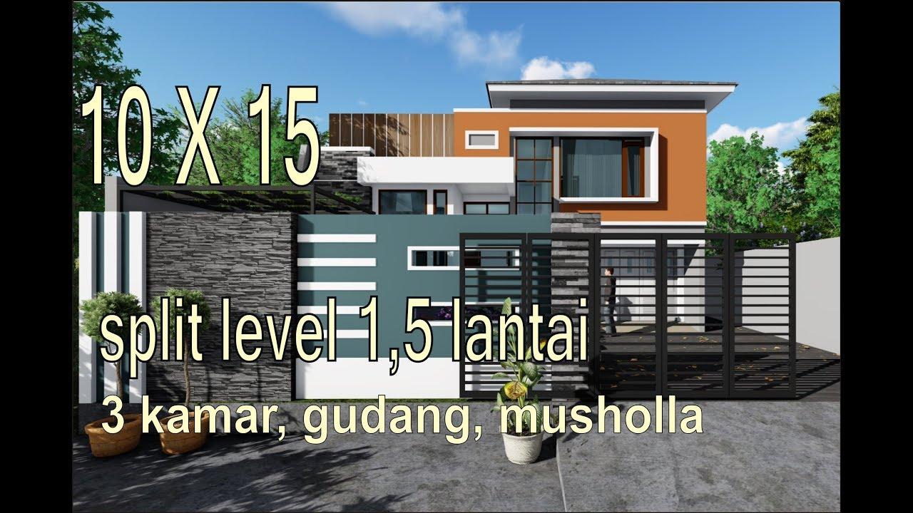 Tren Rumah Minimalis Modern Split Level 1 5 Lantai 10x15 Meter 3 Kamar 3 Toilet Musholla Gudang Youtube
