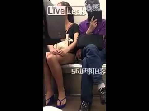 Man gets Slapped for Touching Girl's Butt on Subway