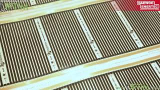 Монтаж инфракрасного пленочного теплого пола Daewoo Enertec в гостиной