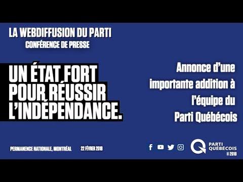 Annonce d'une importante addition à l'équipe du Parti Québécois