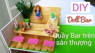 DIY How to make Doll Bar / Làm nhà cho búp bê: làm quầy bar trên sân thượng / Ami DIY