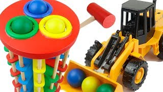 Wooden Pounding Toy and Construction Machines for Kids - Wooden Hammer and Balls for Children