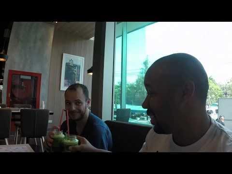 Trying Kale Juice in Bangkok Thailand