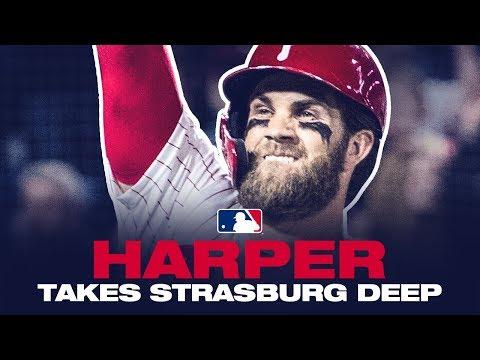 Harper crushes a HR off Strasburg