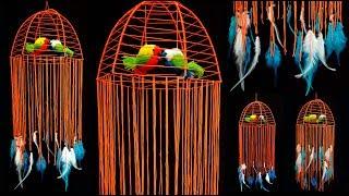 DIY Bird Wall Decor/Love Birds/How to make Hanging Bird Cage Dreamcatcher