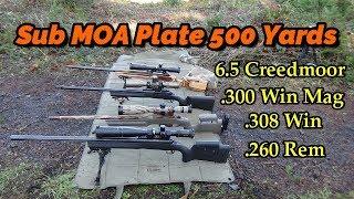 Sub MOA plate 500 yards - 6.5 Creedmoor .300 Win Mag .260 Rem .308 Win 30-06