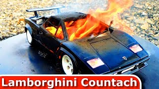 Burning my Lamborghini Countach - The Car is on Fire! Diecast Toy Car Burnout