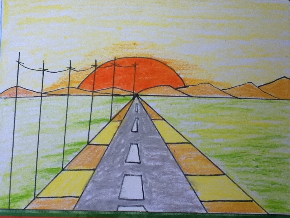 sunset drawing for kids in simple steps - Simple Drawing For Children