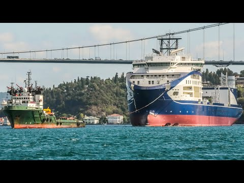 New Cable Laying Vessel LEONARDO DA VINCI towed through Istanbul en route to Norway - 15/08/2020