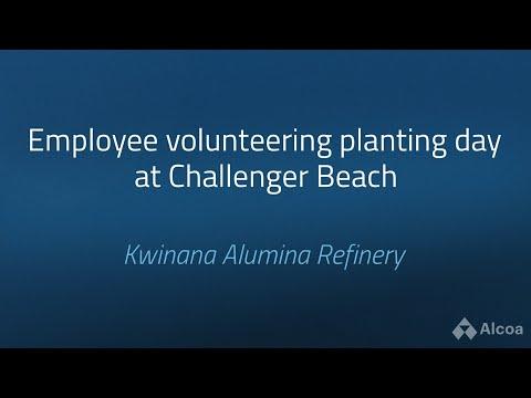 Alcoa Kwinana, Australia, employees plant at Challenger Beach