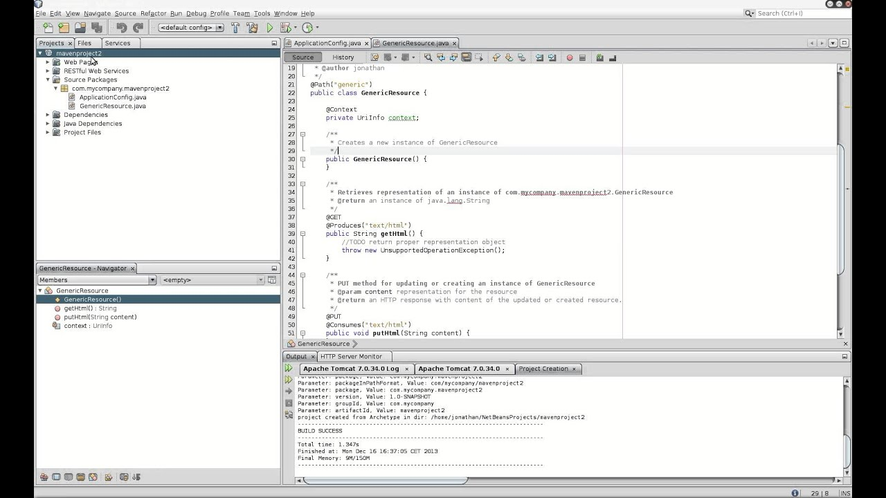 Creating a webservice Restful with Netbeans in a Maven Web Project
