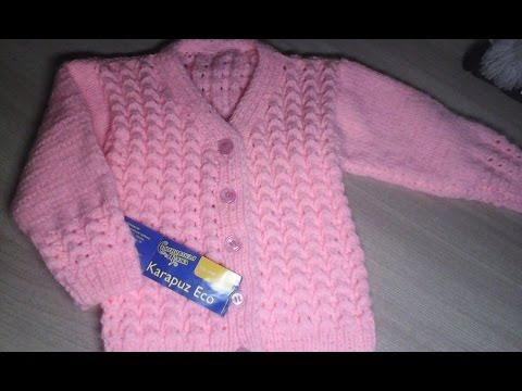 Краткий МК кофты для девочки. Вязание спицами.
