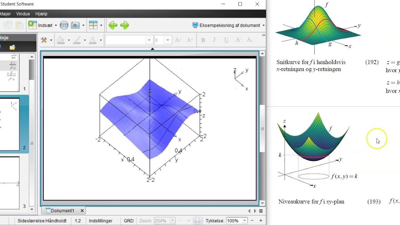 Funktioner af to variable med Nspire (STX-A)