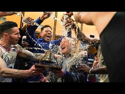 Sixers POURING DRINKS on Brett Brown To Celebrate Advancing To Conference Semi-Finals