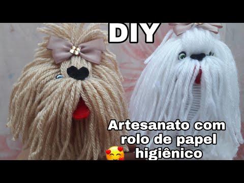 Cachorrinha,bolota  Feita De Linha De Lã E Rolinho De Papel Higienico