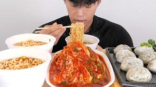 육개장 + 만두 + 김치 먹방 - ASMR korean noodle , dumpling , kimchi mukbang