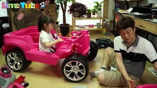 라임이한테 전용차가 생겼다고?? 어린이 전동차 바비 핑크 캐딜락 파워휠 유아전동차 만들기 장난감 놀이 LimeTube & Toy 라임튜브