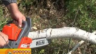 Как работать бензопилой(В кадре: Бензопила OLEO-MAC OM 941CX-16