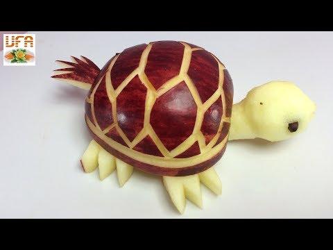 How To Make Purple Apple Tortoise - Fruit Carving Garnish - Food Art Decoration