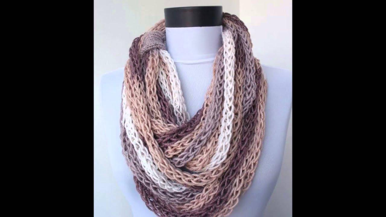 Bufandas de moda para dama tejidas a crochet y dos agujas