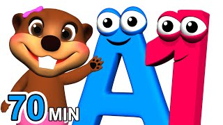 ABCs 123s + More | Alphabet Numbers Nursery Rhymes | Kids Learn 3D Cartoons By Busy & Baby Beavers