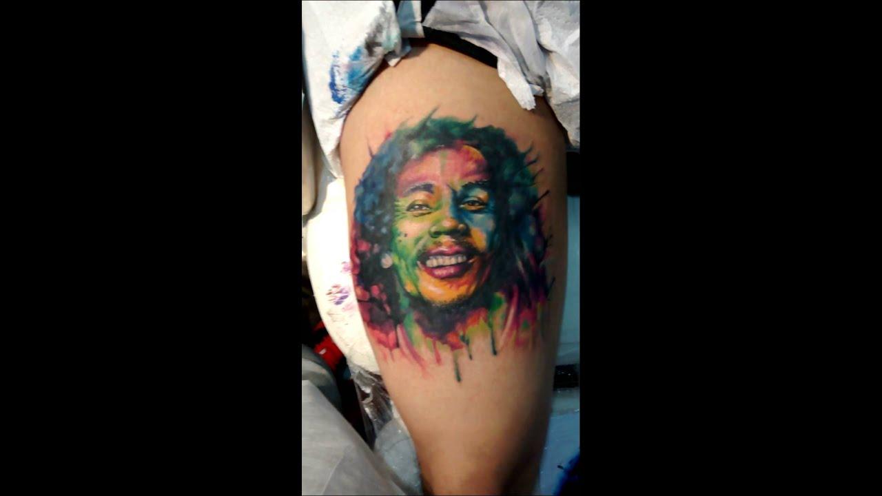 Bob marley tattoo aquarela star night tattoo youtube for Bob marley tattoo