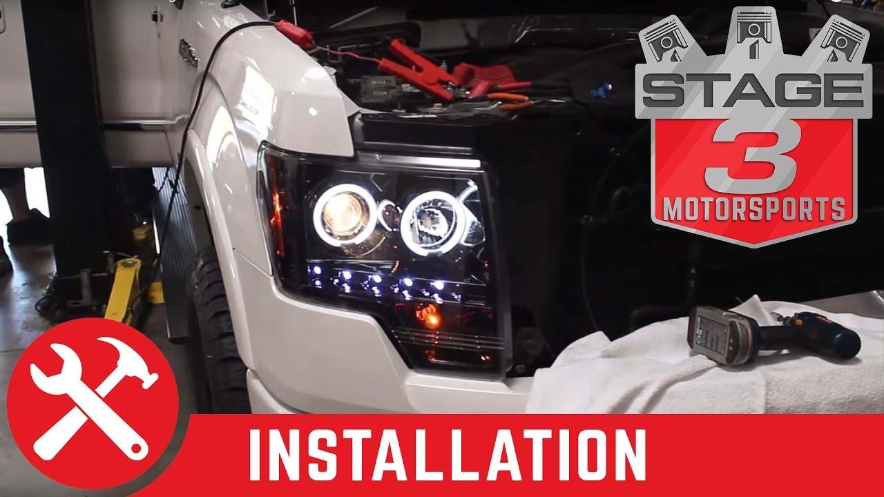 medium resolution of 2009 2014 ford f 150 recon halo headlight install