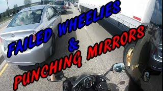 MOTORCYCLE VS MIRRORS WHEELIE FAIL