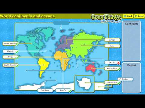 Label the continents and oceans of the world - YouTube