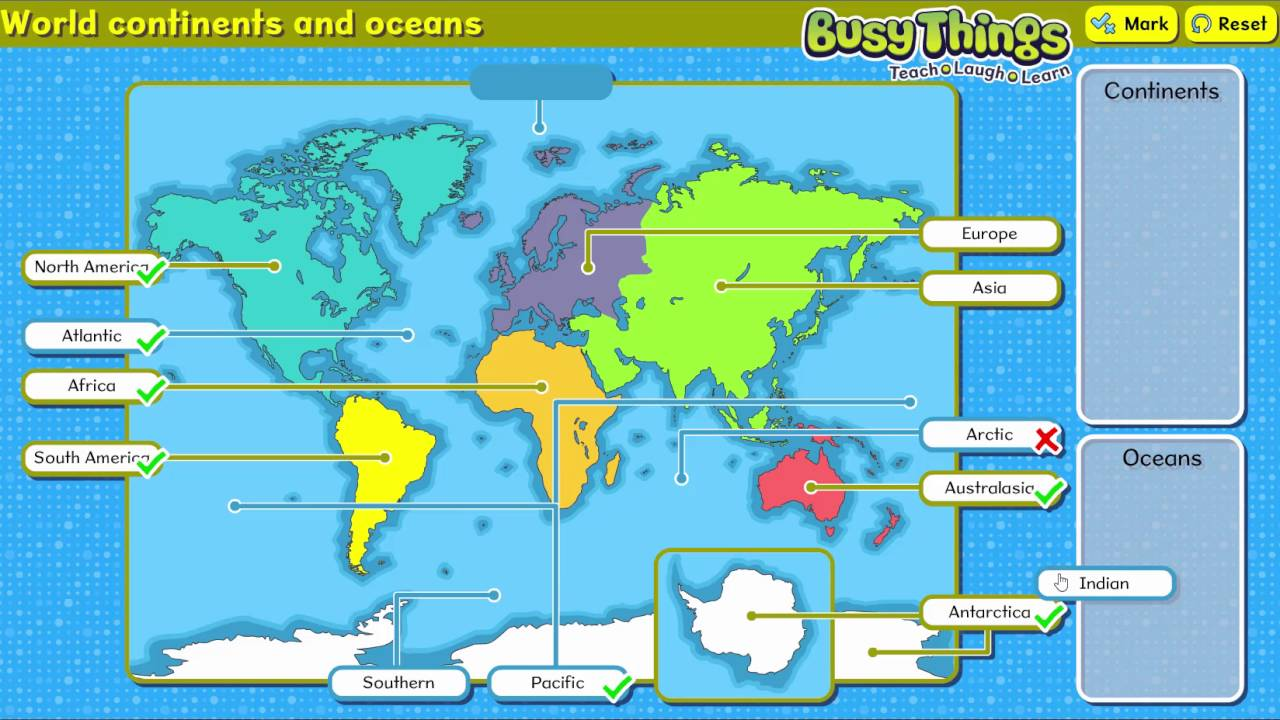 Label The Continents And Oceans Of The World YouTube - World map oceans labeled