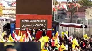 İstanbul Fatih'te Mısır halkına destek mitinginde  rabia sloganları