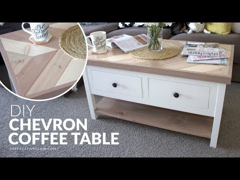 DIY Chevron Top Coffee Table // With or Without Drawers
