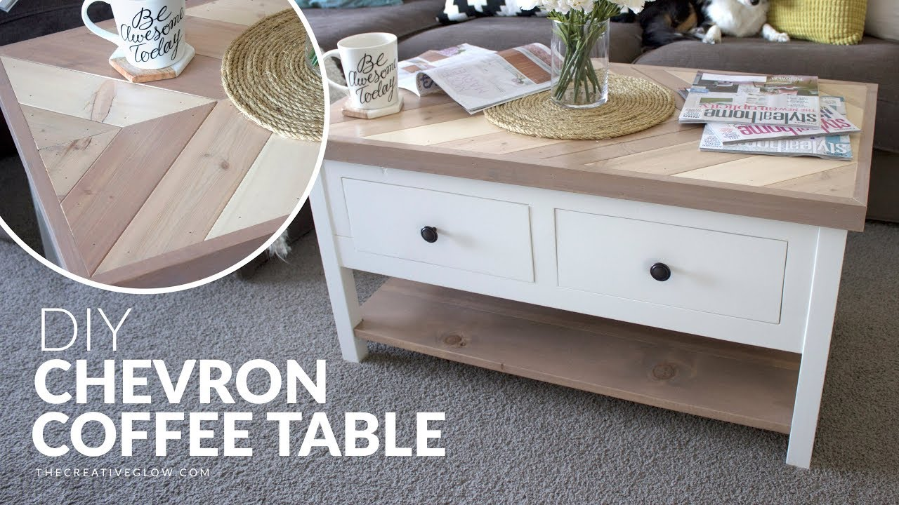 Diy Chevron Top Coffee Table With Or Without Drawers Youtube