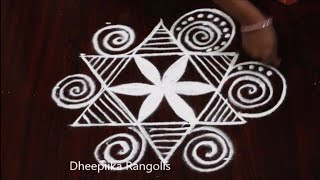 easy & simple star kolam design with 5x3 dots ll friday rangoli design ll new muggulu