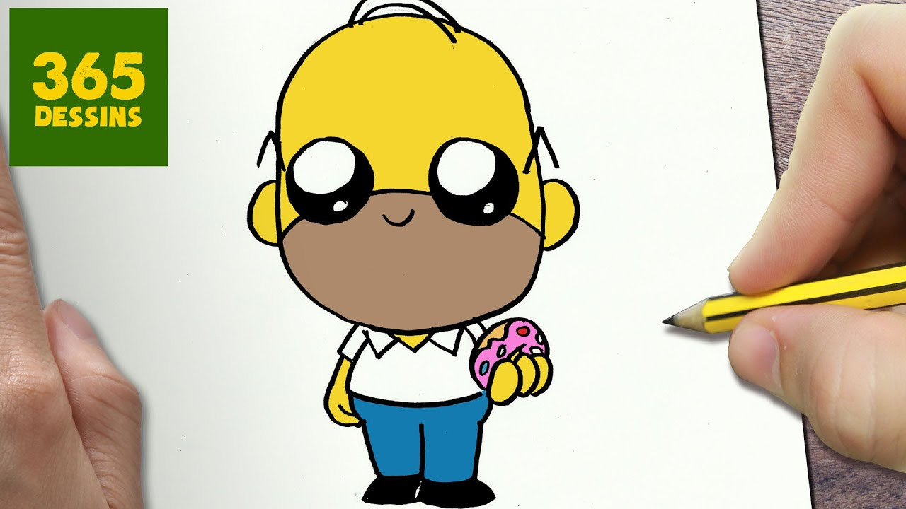 Comment dessiner homer simpson kawaii tape par tape - Dessiner simpson ...