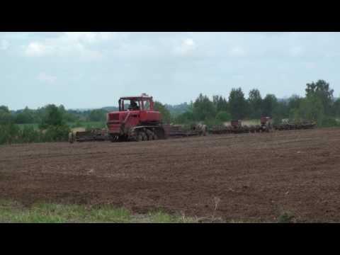 Сев люцерны и прикатывание  тракторами ДТ 75 и МТЗ 1221.