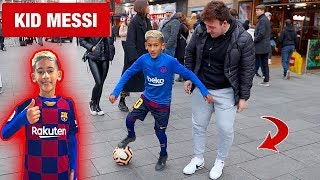 9 year old KID MESSI playing FOOTBALL in LONDON !? (PUBLIC NUTMEGS CHALLENGE)