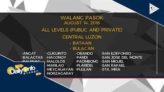Mga lugar na #WalangPasok ngayong araw, August 14, 2018