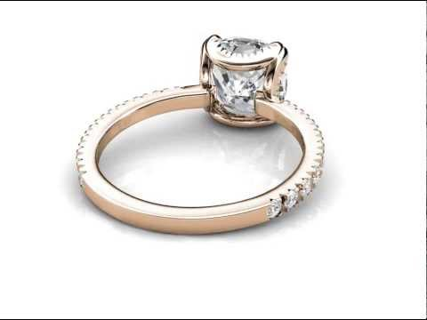 Rose Gold Draped Halo Engagement Ring