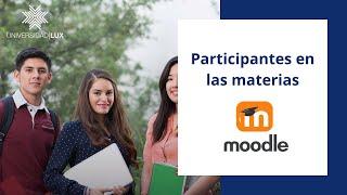 Participantes en las materias (plataforma educativa moodle)