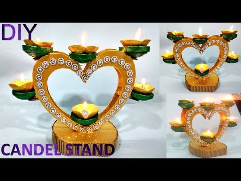 How to make Newspaper candle stand || Diya stand making || newspaper diy craft