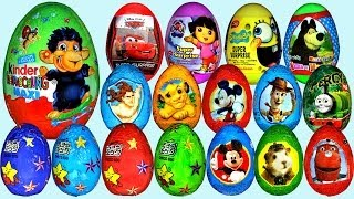 80 Surprise eggs, Маша и Медведь Kinder Surprise Mickey Mouse Disney Pixar Cars 2(Hi everyone! In this video I am going to show you 80 surprise eggs. From these there are 40 different surprise eggs and 40 kinder surprises. The first eggs are ..., 2014-04-28T21:30:01.000Z)