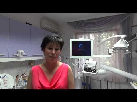 Gyökérkezelt fog fogfehérítése 1 alkalommal. Páciens videó